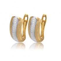 Złote gustowne kolczyki z diamentowaniem