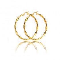 Kolczyki złote diamentowane, kręcone koła