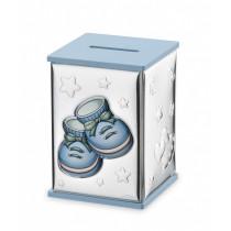 Srebrna skarbonka niebieska z bucikami dla chłopca
