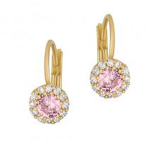 Bogate złote kolczyki dziecięce z różową cyrkonią Grawer GRATIS