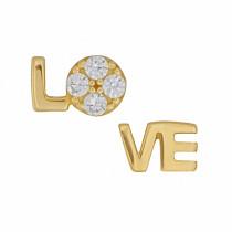 Złote kolczyki napis LOVE z cyrkoniami Prezent Grawer GRATIS