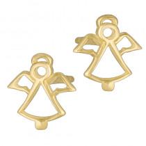 Złote kolczyki Aniołki Chrzest Święty Prezent Grawer GRATIS
