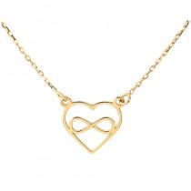Naszyjnik złoty serce z nieskończonością