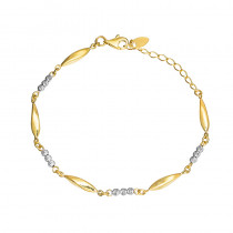 Wyrafinowana złota bransoletka z białym złotem Grawer GRATIS