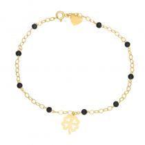 Złota bransoletka z Koniczynką i czarnymi kryształkami