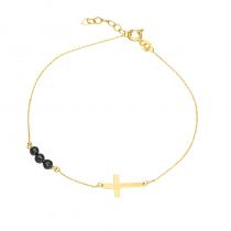 Złota bransoletka z Krzyżykiem i czarnymi kryształkami