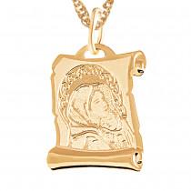 Uroczy zloty komplet medalik z Matką Boską i łańcuszkiem