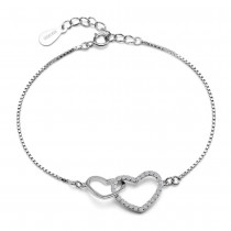 Srebrna bransoletka złączone serca z cyrkoniami