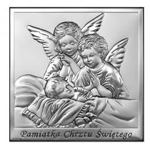 Obrazek srebrny na Chrzest dwa Aniołki Stróże Grawer GRATIS