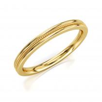 Pierścionek złoty, obrączka delikatnie zdobiona