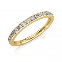 Pierścionek złoty, obrączka wysadzana cyrkoniami