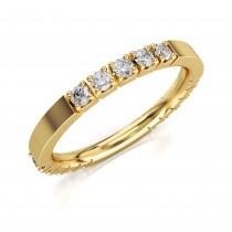 Złoty pierścionek, obrączka zdobiona cyrkoniami