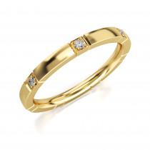 Złoty pierścionek, obrączka zdobiona 7 cyrkoniami