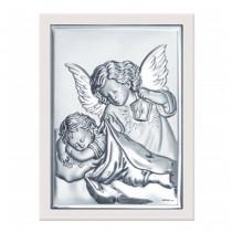 Prostokątny srebrny obrazek Anioł Stróż na Chrzest z grawerem GRATIS