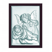 Srebrny obrazek w brązowej ramce Aniołek Chrzest Święty Prezent Grawer GRATIS