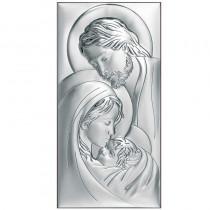 Piękny obrazek srebrny Świętej Rodziny w kształcie prostokąta