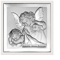 Piękny obrazek srebrny Anioł Stróż Pamiątka Chrztu Świętego w białej ramie