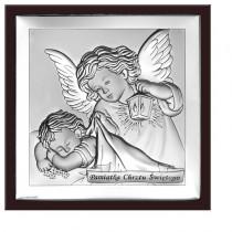 Obrazek srebrny Anioł Stróż  z napisem Pamiątka Chrztu Świętego w ekskluzywnej ramie z brązowego drewna