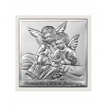 Piękny obrazek srebrny w białej ramce Aniołek Chrzest Święty Prezent Grawer GRATIS
