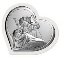 Czarujący obrazek srebrny Anioł Stróż w białej, drewnianej ramie w kształcie serca