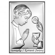 OBRAZEK SREBRNY PAMIĄTKA I KOMUNII ŚWIĘTEJ  CHŁOPIEC