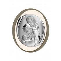 Srebrny obraz sakralny ze świętą rodziną owal z kolorową ramką