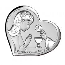 Srebrny obrazek Pamiątka I Komunii Św. dla dziewczyni