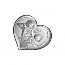 Obrazek srebrny sakralny Anioł Stróż Dziecko Pamiątka Chrztu Chrzest