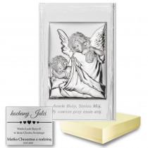Srebrny obrazek sakralny w białej ramce Anioł Stróż Dziecko Pamiątka Chrztu Chrzest
