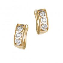 Eleganckie złote kolczyki z cyrkoniami i białym złotem Prezent Grawer GRATIS