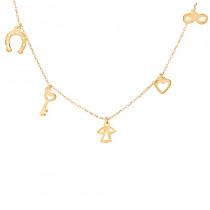 Naszyjnik złoty celebrytka z małymi zawieszkami symbolami