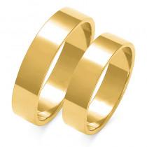 Obraczki ślubne złote, płaskie, 5,00 mm
