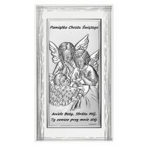 Srebrny obrazek w białej ramce Anioł Stróż Dziecko Pamiątka Chrztu Chrzest