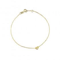 Śliczna złota bransoletka z serduszkiem i cyrkonią Grawer GRATIS