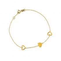 Urocza złota bransoletka z trzema serduszkami Grawer GRATIS