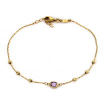 Bransoletka łańcuszek z fioletowym kamieniem