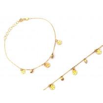 Bransoletka złota z wiszącymi koniczynkami i kuleczkami
