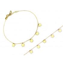 Bransoletka złota łańcuszek z wiszącymi gwiazdkami