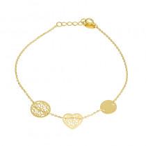 Klasyczna złota bransoletka celebrytka z trzema zawieszkami Prezent Grawer GRATIS