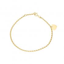 Złota bransoletka z serduszkiem do grawerowania