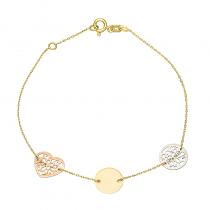 Złota bransoletka celebrytka z trzema zawieszkami z różowego i białego złota