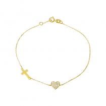 Złota bransoletka z serduszkiem i krzyżykiem