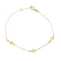 Złota bransoletka z trzema krzyżykami i cyrkoniami