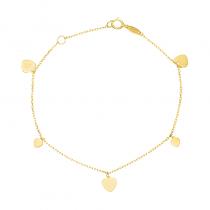 Złota bransoletka z kilkoma serduszkami