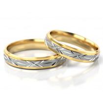 Oryginalna obrączka ślubna z białego i żółtego złota z ozdobnymi nacięciami