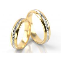 Obrączki ślubne wykonane z żółto-białego złota z ozdobnymi nacięciami