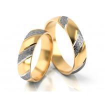 Półokrągła obrączka przeplatana żółtym i białym złotem