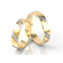Płaska obrączka przeplatana żółtym i białym złotem