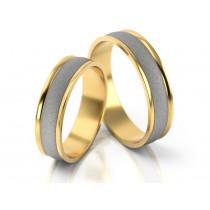 Obrączki ślubne z białego i żółtego złota z eleganckim wykończeniem