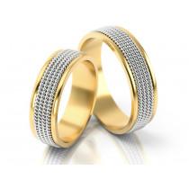 Szerokie obrączki ślubne zdobione wykończeniem imitującym łańcuszki